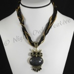 Beaded Rope Necklace with Owl Pendant Black